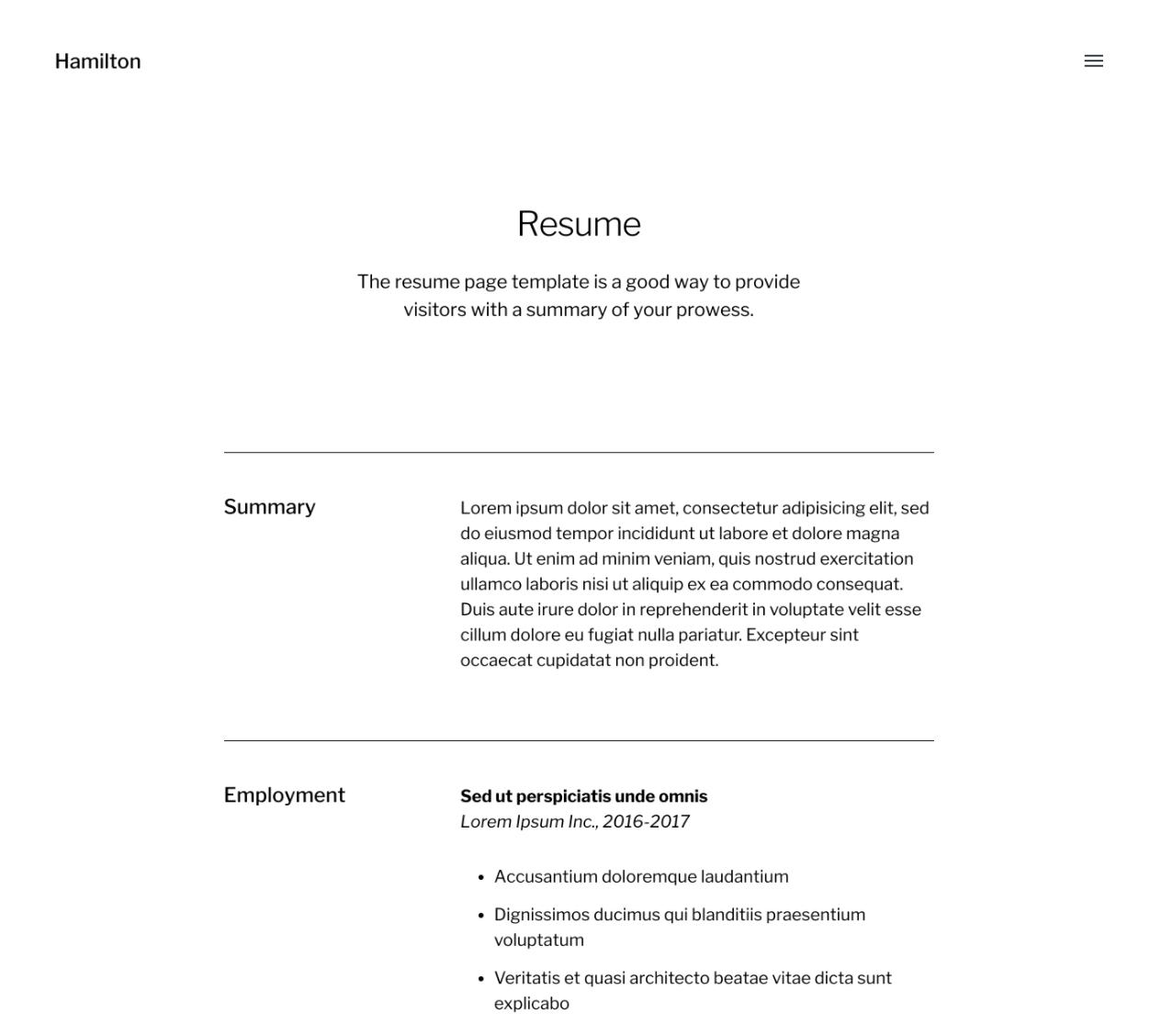 hamilton  a free wordpress portfolio theme for
