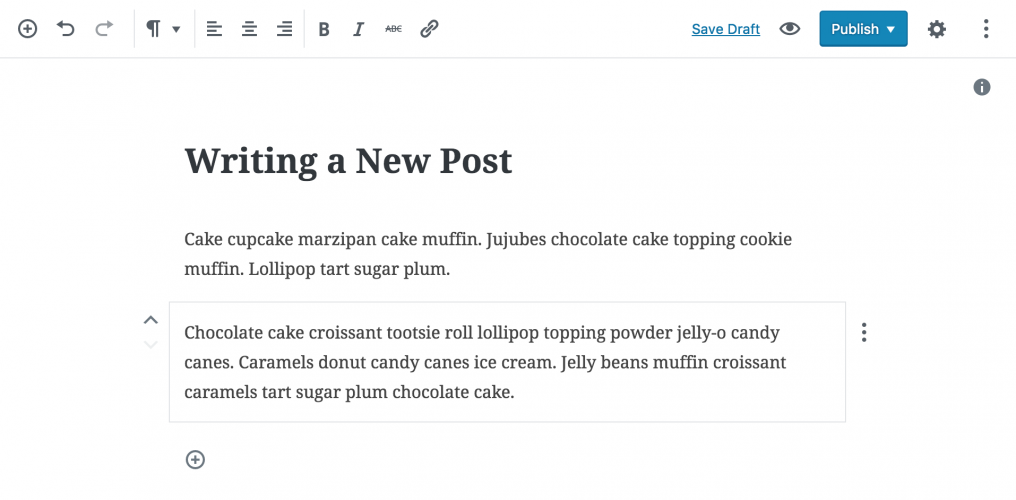 Gutenberg 1.6 Improves Writing Experience, Moves Block Toolbar to the Top of the Editor