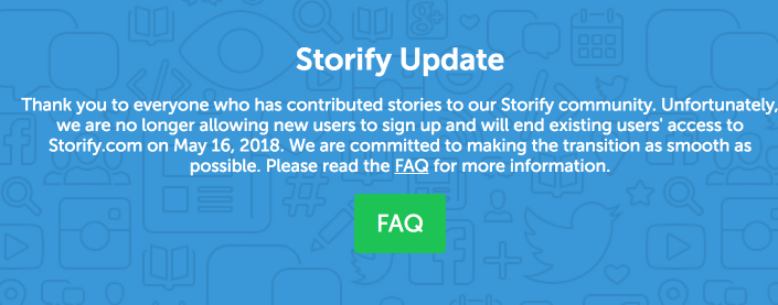 Storify Shutting Down Announcement