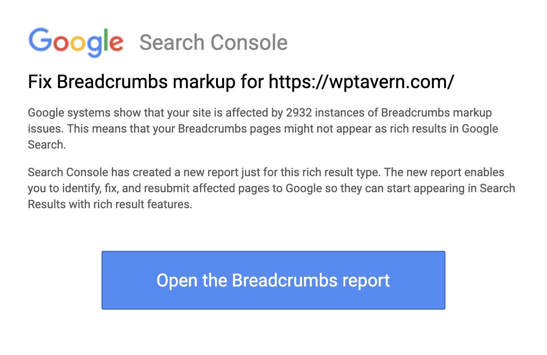 Google Breadcrumbs Report notice