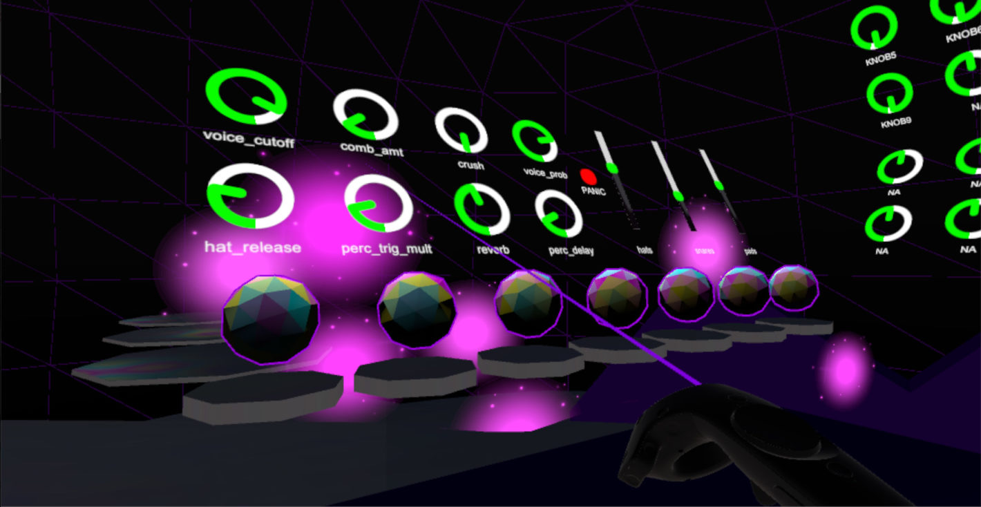 A synthesizer interface in VR