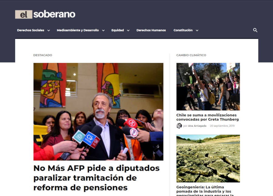 Screenshot of the El Soberano homepage.