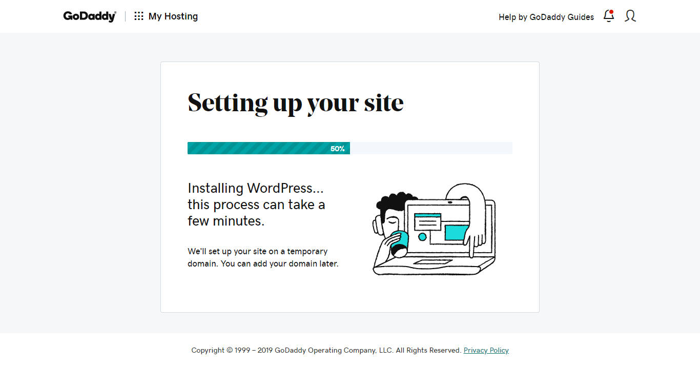 Site setup process for GoDaddy's managed WordPress hosting.