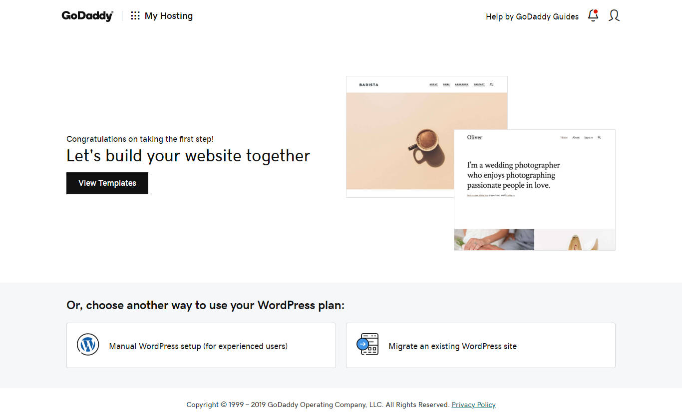 Starting screen for GoDaddy's managed WordPress hosting.