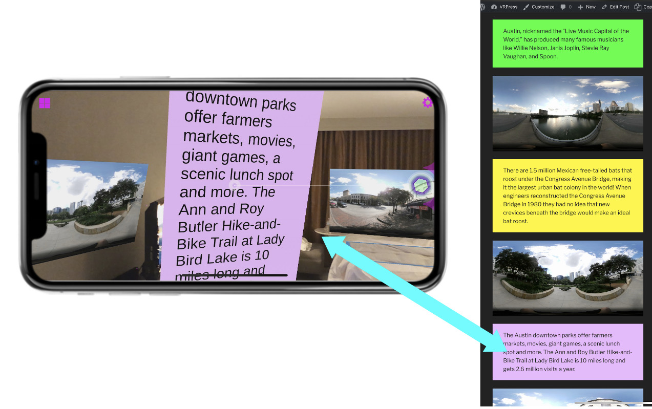 Example showing relation of website and AR experience.