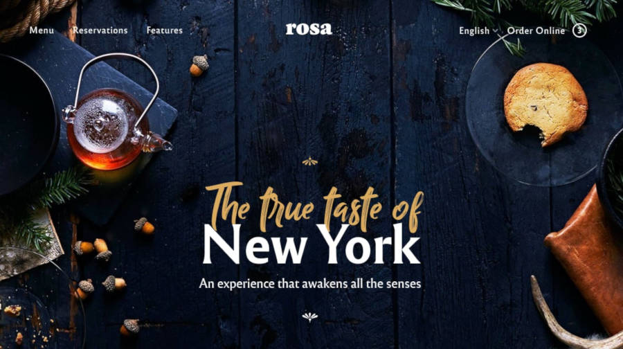 Screenshot of the Rosa 2 restaurant WordPress theme.