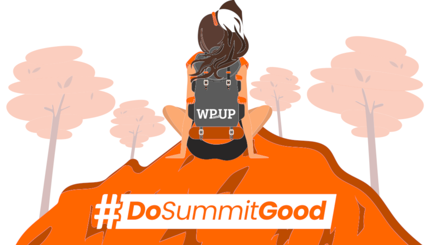 "Decorative image of woman sitting on a mountain, surrounding by trees with the text ""#DoSummitGood""."