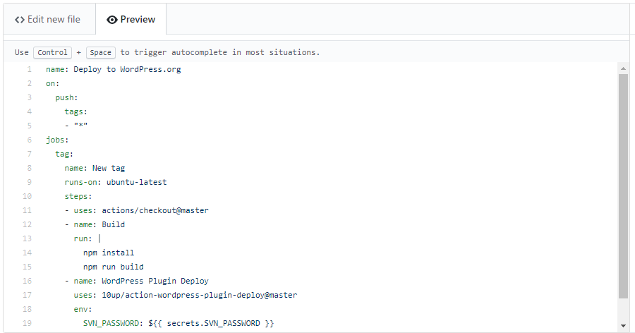 Screenshot of adding a GitHub Action workflow.
