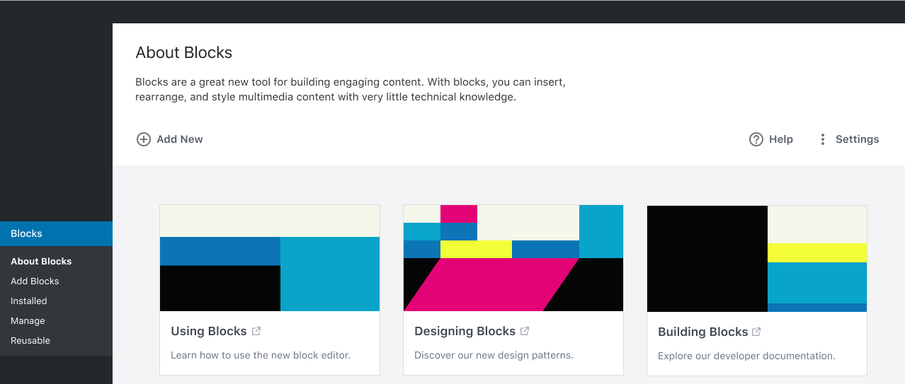 Screenshot of the About Blocks screen prototype for WordPress.