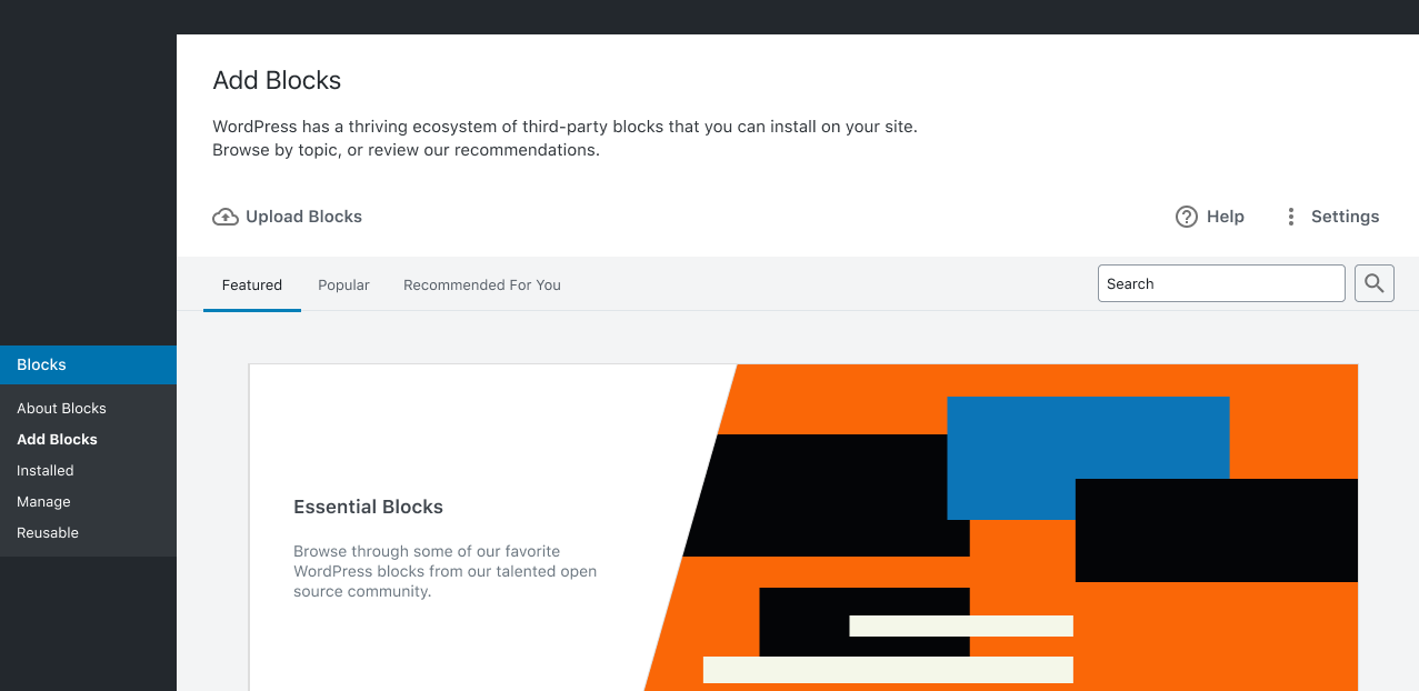 Screenshot of the Add Blocks screen prototype for WordPress.
