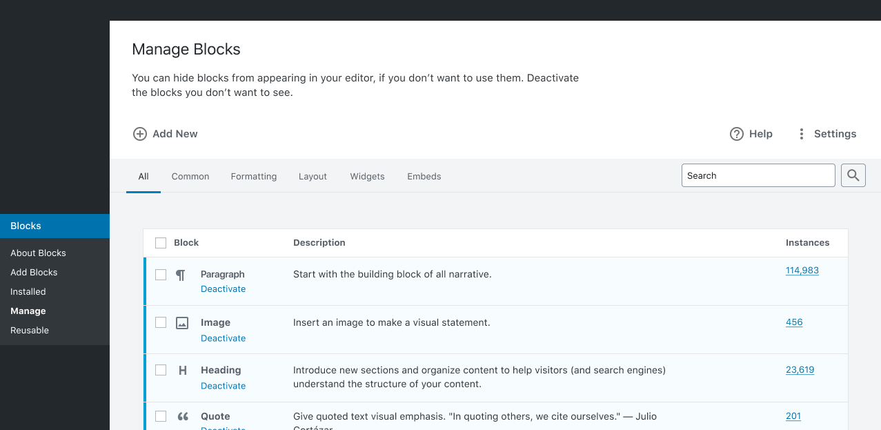 Screenshot of the Manage Blocks screen prototype for WordPress.