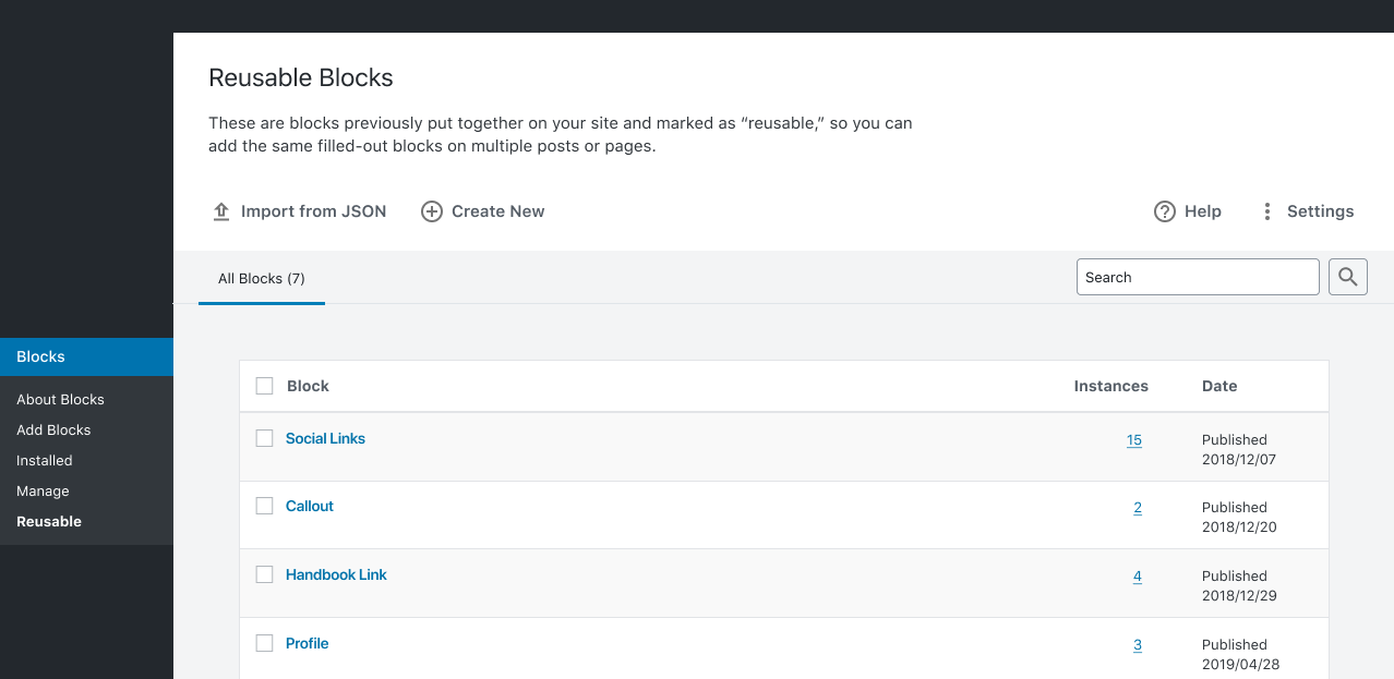 Screenshot of the Reusable Blocks screen prototype for WordPress.
