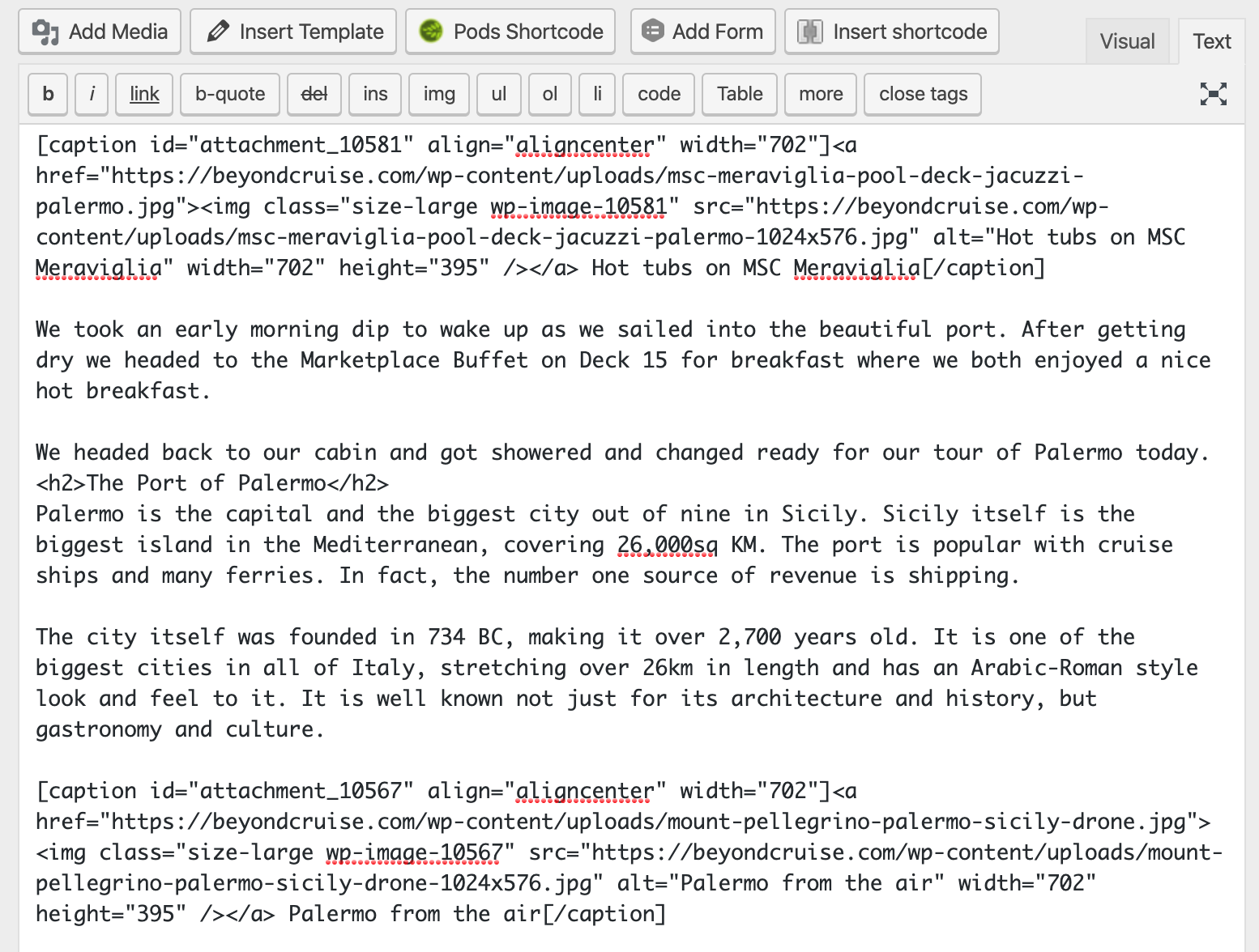 Screenshot of the classic WordPress text editor.
