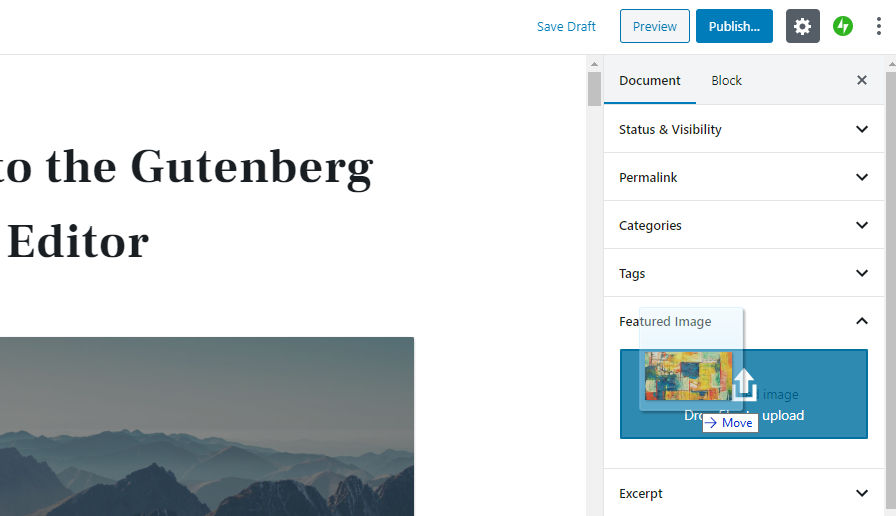 drag-drop-featured Gutenberg 7.1 Includes Welcome Modal, Improves Multi-Block Selection, and Adds Drag-and-Drop Featured Images design tips  News|gutenberg