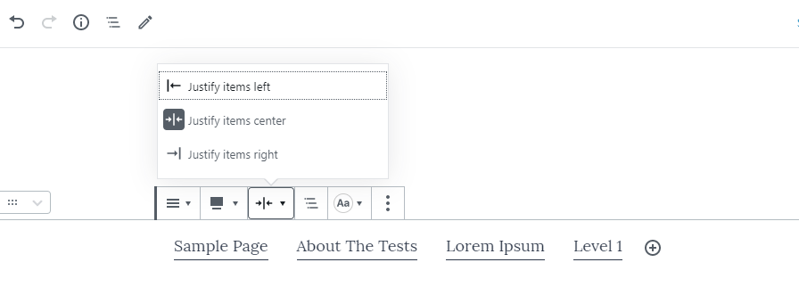 Screenshot of aligning items within the navigation block in Gutenberg.