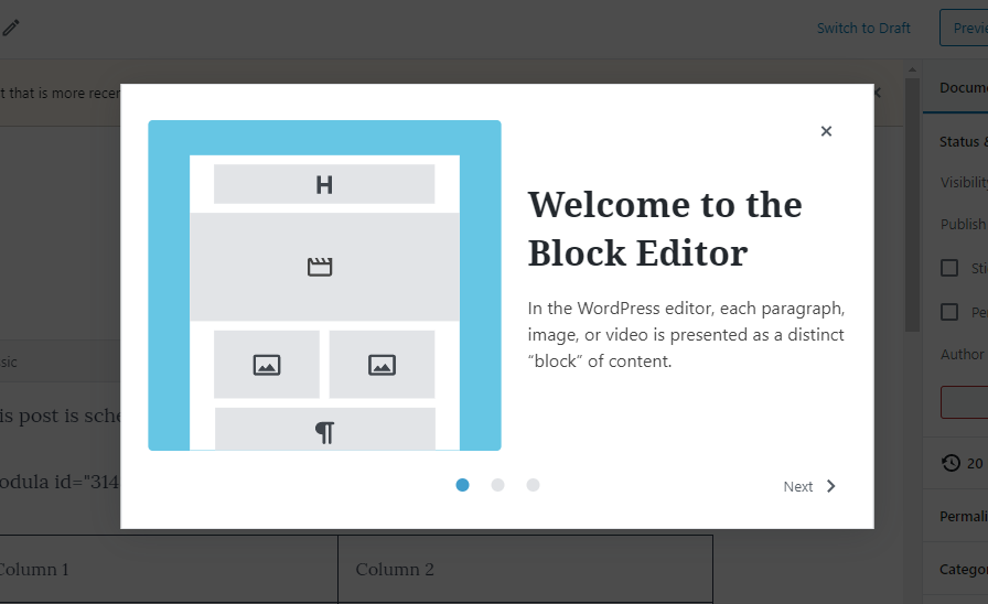 Screenshot of the welcome modal for first-time Gutenberg users.