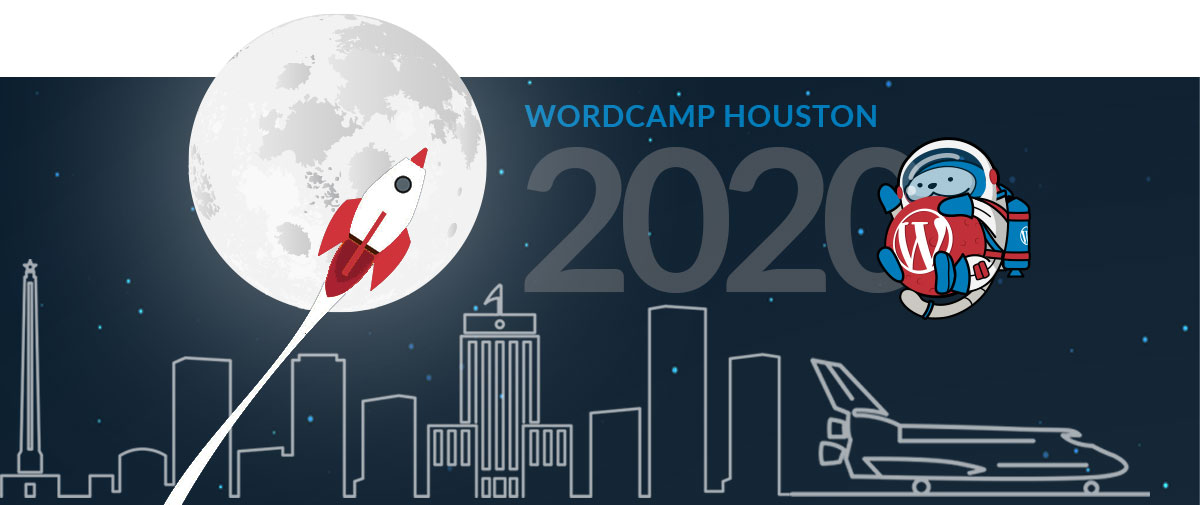 Decorative image representing WordCamp Houston with a rocket flying in front of the moon with a city in the background.