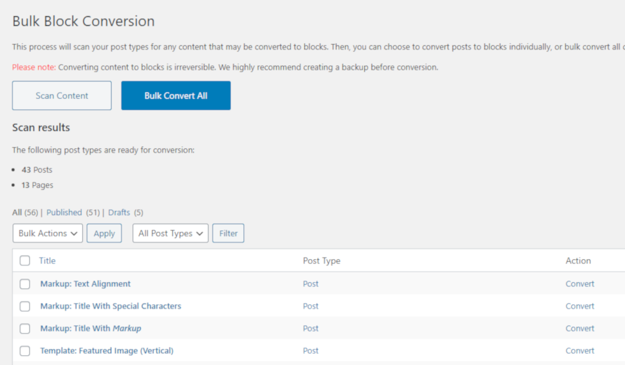 Screenshot of the Tools > Block Conversion plugin screen in the admin.
