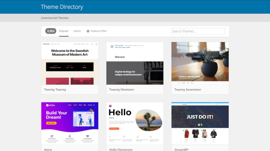 Screenshot of the WordPress theme directory, which now features popular themes.