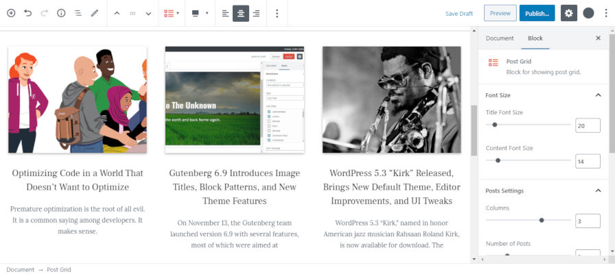 Screenshot of the Post Grid block from the Guteblock WordPress plugin.
