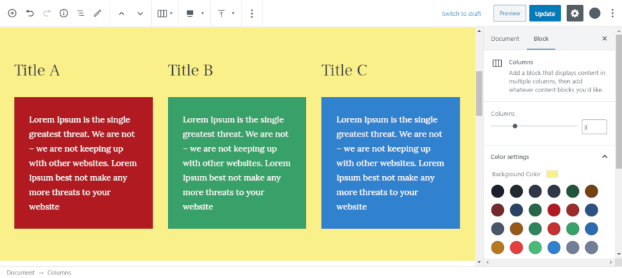 Screenshot of changing the background color for a group of columns in Gutenberg.