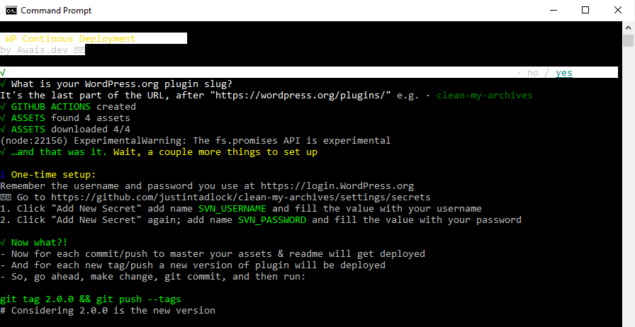 Screenshot of setting up WP Continuous Deployment via the command line.