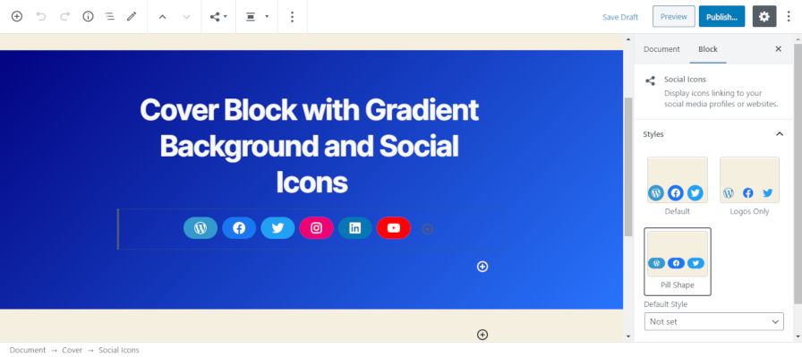 Screenshot of the cover block with a gradient background and an inner social icons block.