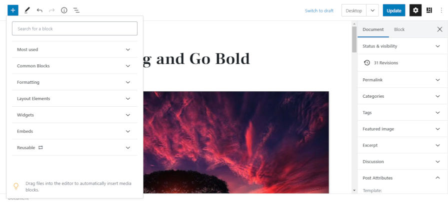 block-editor-ui-refresh-001 Gutenberg 7.7 Ships Refreshed UI and First Iteration of Block Patterns design tips  News