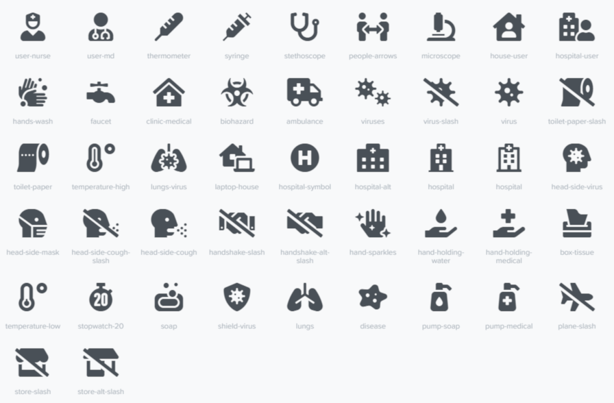 Screenshot of all the new icons included in Font Awesome 5.13 related to COVID-19.