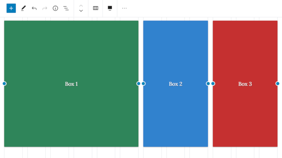 Screenshot of the Layout Grid block in the block editor with a basic three columns.