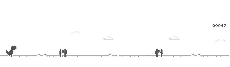 Screenshot of the default output of the Block-a-saurus plugin game.