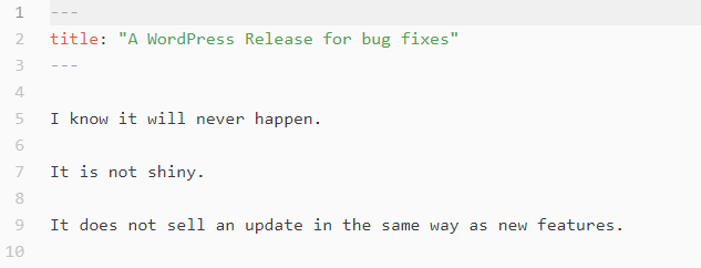 Screenshot of article on a bug-fix-only release of WordPress.