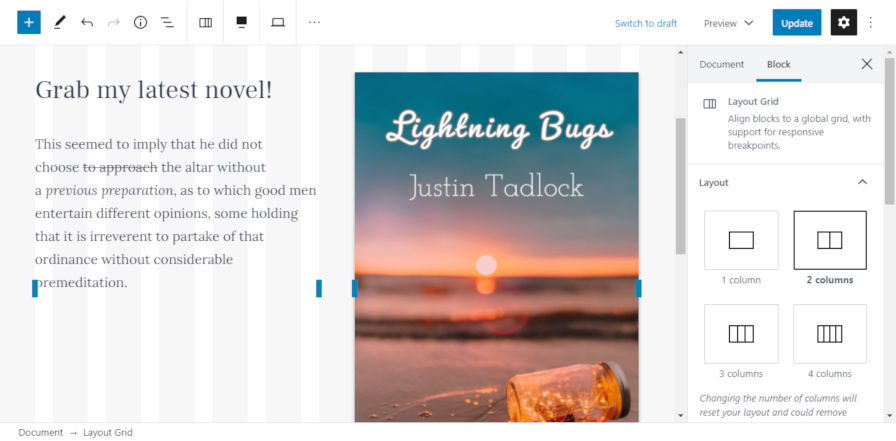 Creating columns of content with the Layout Grid block in the WordPress editor.