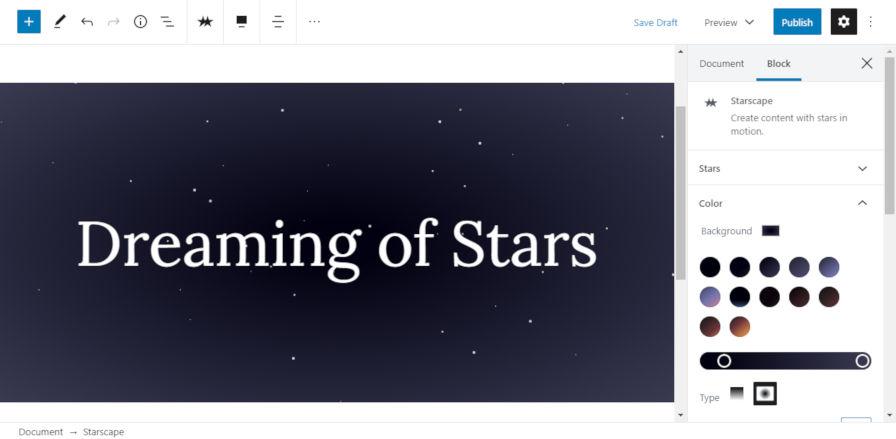 Using the Starscape block in the WordPress editor.