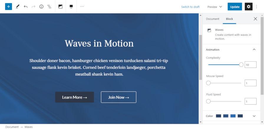 Using the Waves block in the WordPress editor.