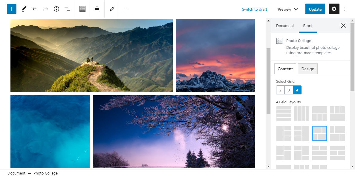 Screenshot of the Photo Collage block from the ACF Blocks plugin in the WordPress editor.