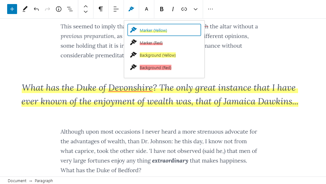 Screenshot of the RichText Extension plugin's highlighter feature in the editor.