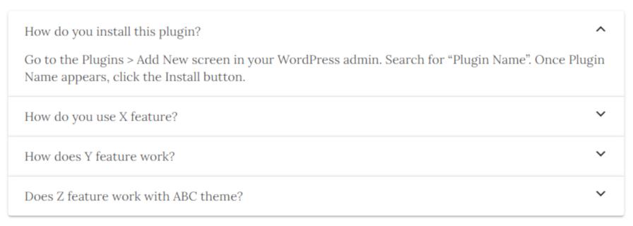 Screenshot of the Shinobi Blocks FAQ block's front end output.