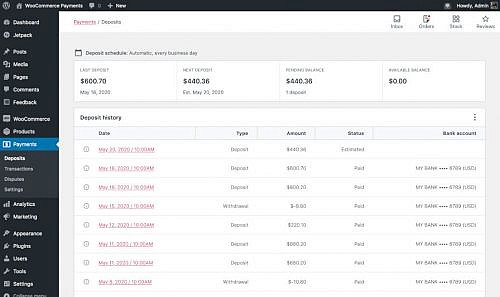 WooCommerce Payments deposits screen.
