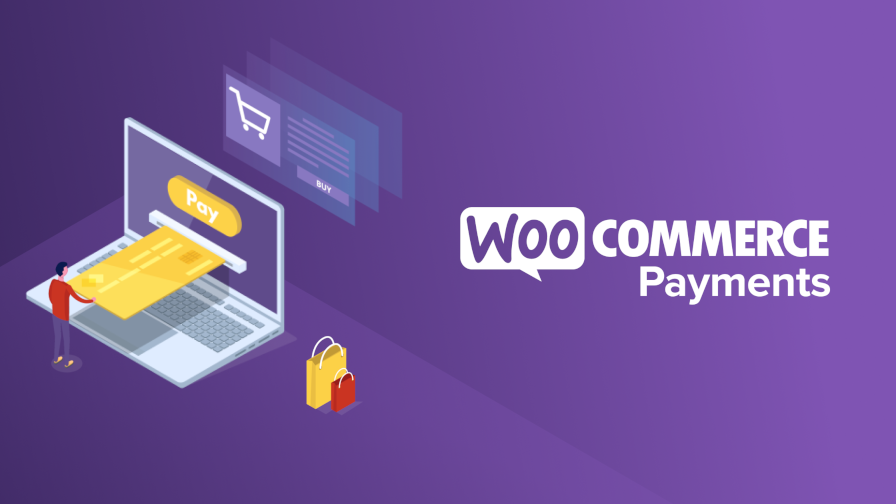WooCommerce Payments decorative image with a laptop accepting a credit card.