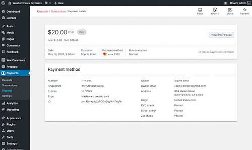 WooCommerce Payments Transaction Details screen.