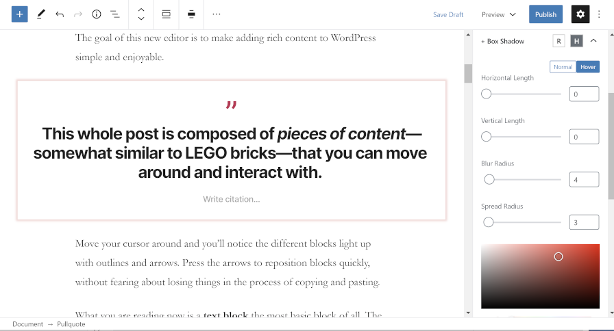 Editing a Pullquote block's design options via the EditorPlus plugin.