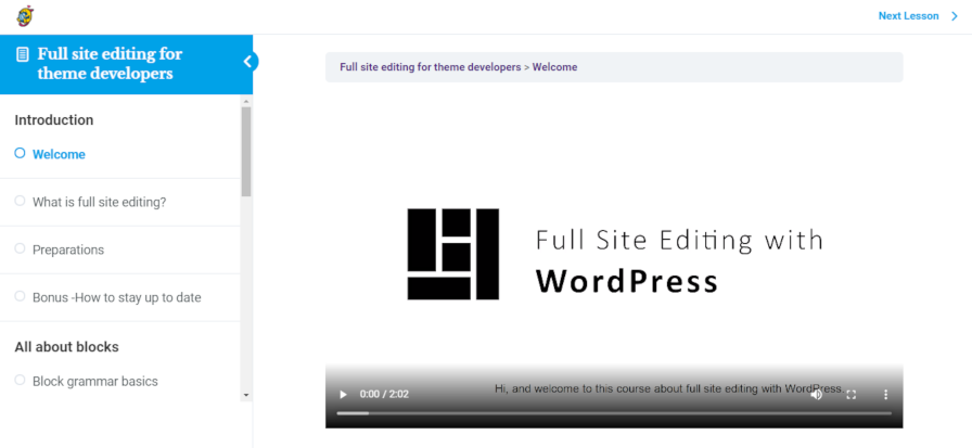 Screenshot of the welcome lesson/introduction to the full-site editing course.
