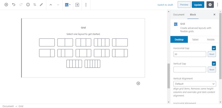 Le bloc de grille du plugin GenerateBlocks dans l'éditeur WordPress.