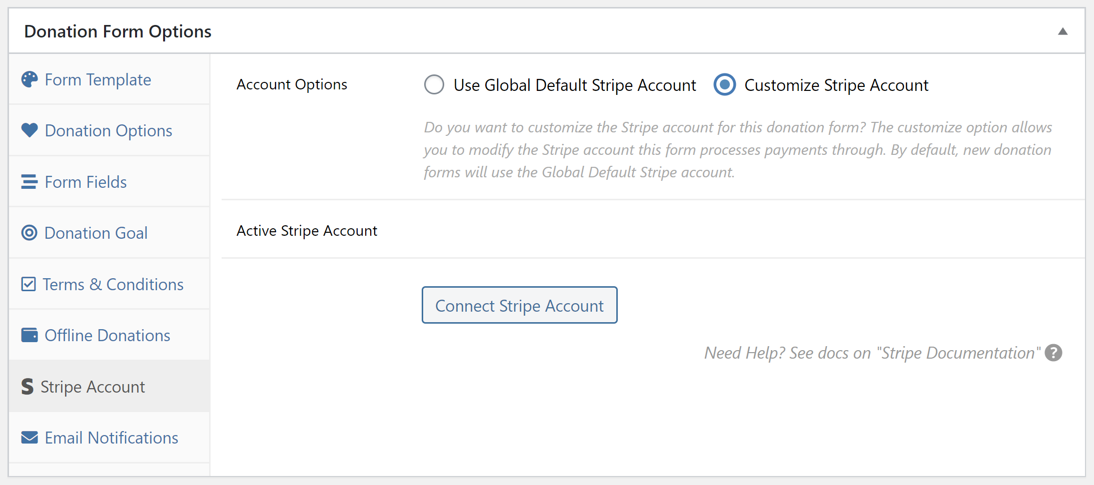 Setting per-form strip account with GiveWP.
