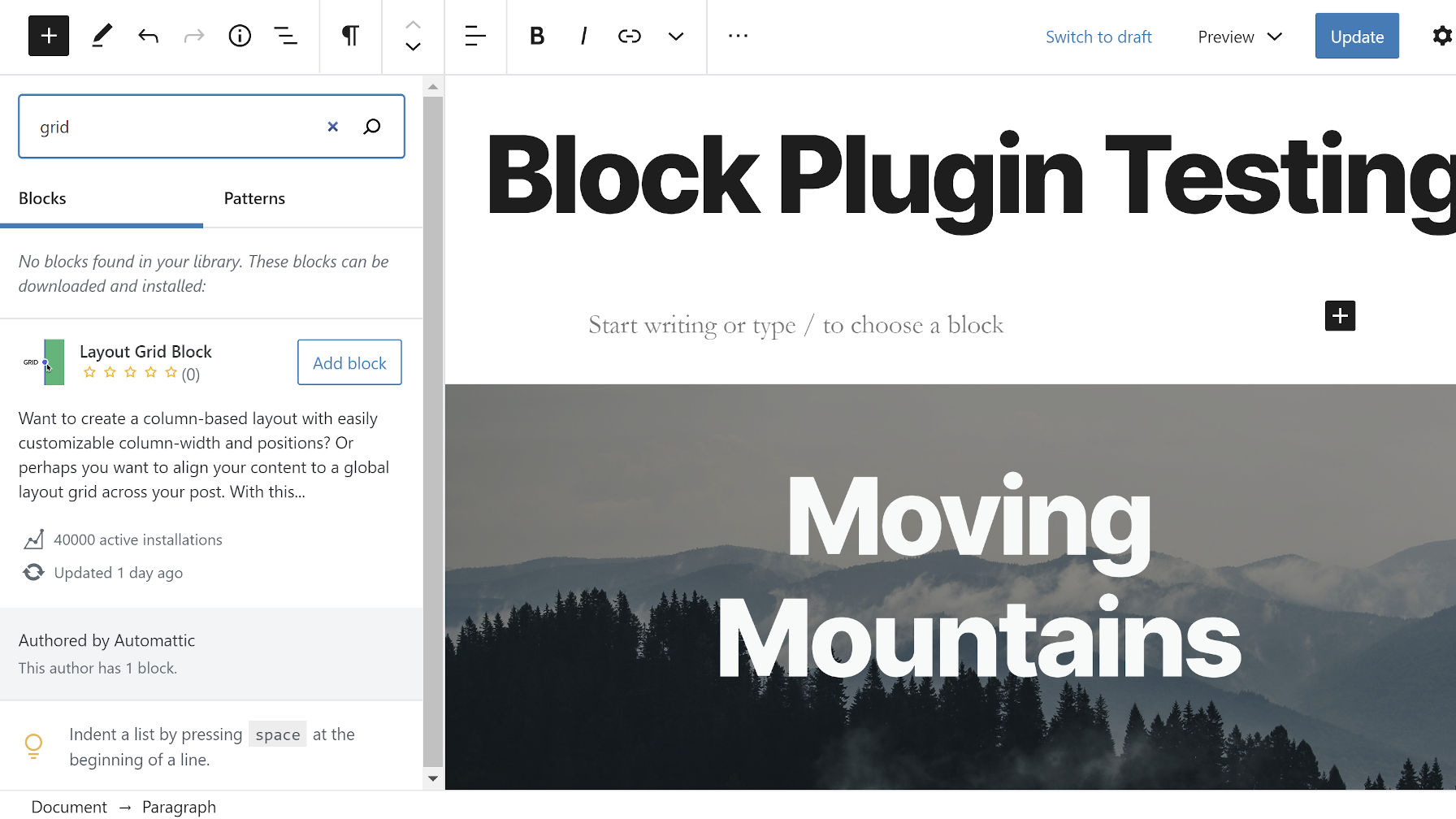 Installing a block from the editor via the Gutenberg block directory search.