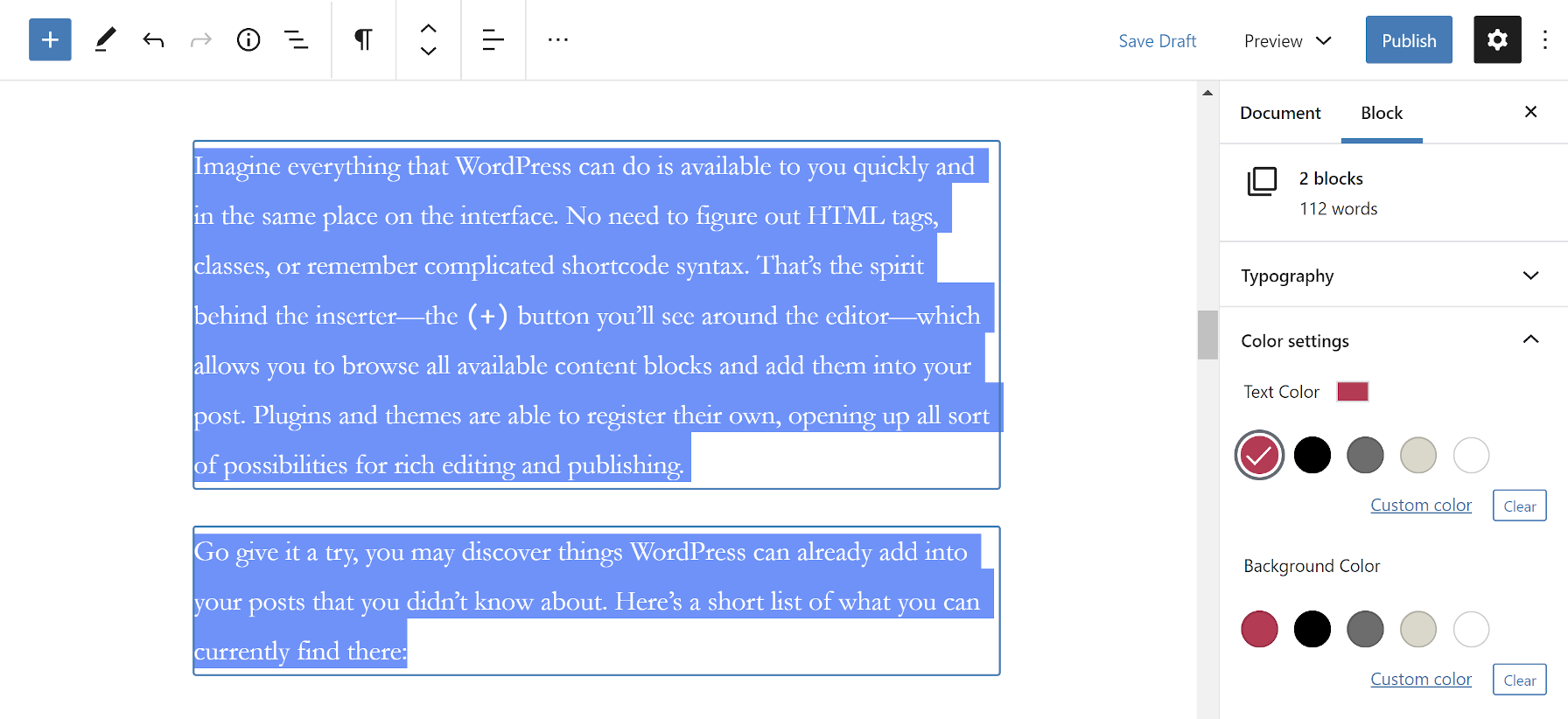 Editing the block options for two paragraphs.