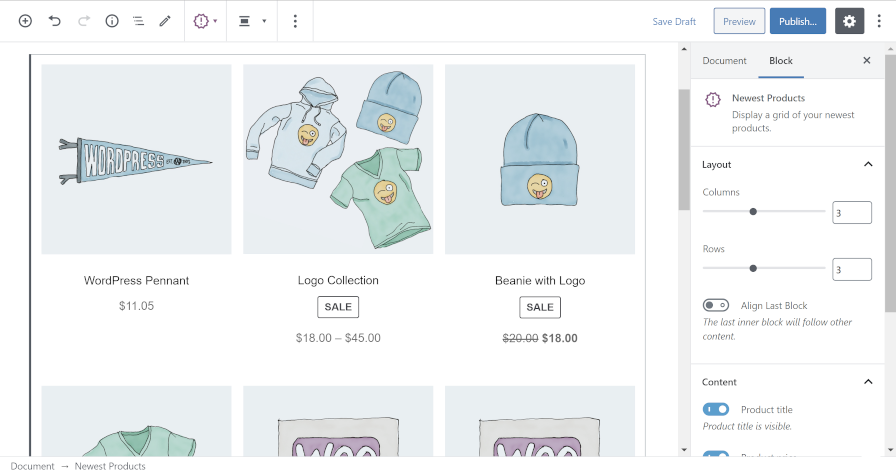 Using the Newest Products block from WooCommerce in the block editor.