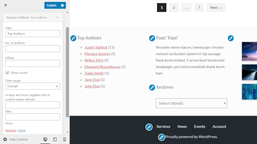Adding the Popular Authors plugin widget to a sidebar via the WordPress customizer.