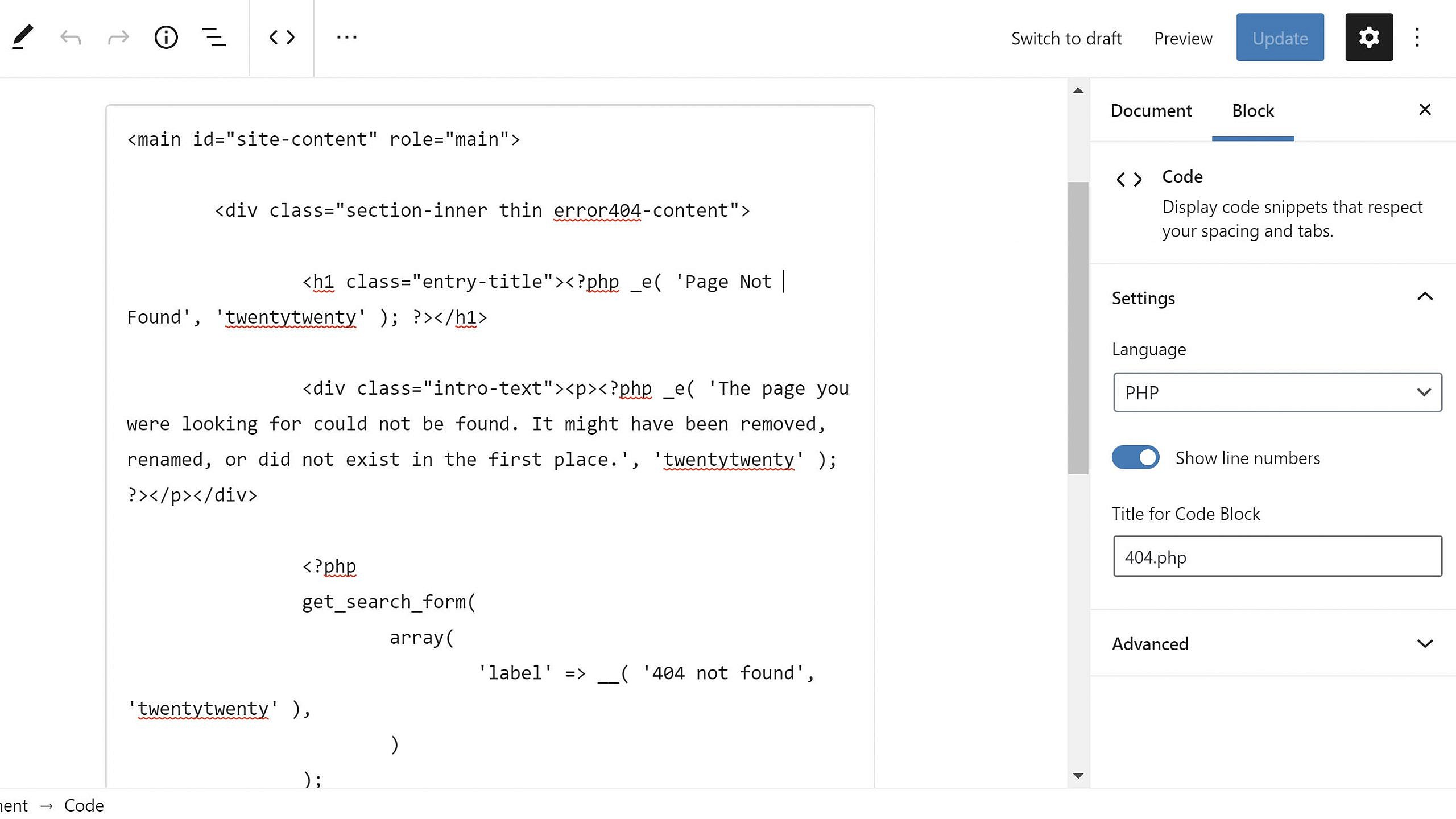 Using the Code Syntax Highlighter options in the block editor.